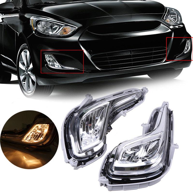 2pcs Car Light For Hyundai Accent 2012-2014 Front Bumper Fog Lights Fog Lamp Clear Lens with Bulbs Car Styling 92201-1R000