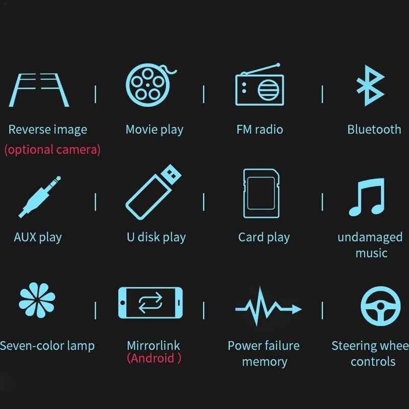 مشغل بطاقة MP5 الجديد للسيارة بمقاس 7 بوصات مزود براديو ستيريو مزود بتقنية البلوتوث ومشغل بطاقة MP5 ذو سبيكة مزدوجة متصل بكاميرا للسيارة مشغل MP3 وبلوتوث
