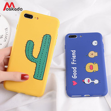 Moskado Green Cactus Phone Case For iphone 8 7 6 6s Plus Funny Cartoon Yellow Duck For iphone X XS Max 5 5s SE XR Soft TPU Cover цена и фото