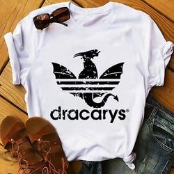 Daenerys smok camiseta Dracarys zabawna koszulka męska lato nowy biały dorywczo ma unisex tshirt fajne Harajuku street wear t koszula 3