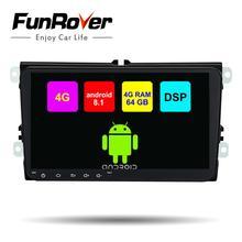 Funrover 8 Core 2 din Автомобильный мультимедийный dvd плеер для Volkswagen/»VW»/поло/PASSAT/Гольф/Skoda/Octavia/сиденье радио gps DSP 4 г 64 LTE