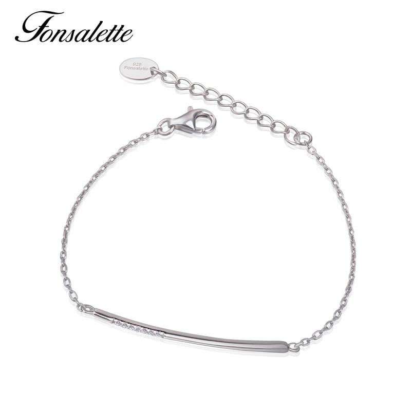 Hoge Gepolijst Eenvoudige Lijn Bar Armband Sterling Zilveren Zirconia Horizontale Half Pave Cz Stick Armbanden & Bangle Gift Zk40 Elegant En Sierlijk