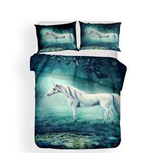 Image 2 - מצעי סט 3D מודפס שמיכה כיסוי מיטת סט Unicorn טקסטיל מבוגרים כמו בחיים מצעי עם ציפית # DJS15