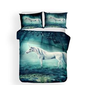 Image 2 - Bộ đồ giường Đặt 3D In Duvet Cover Bed Thiết Unicorn Trang Chủ Dệt May cho Người Lớn Sống Động Như Thật Chăn Mền với Gối # DJS15