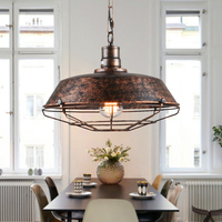 Vintage Metal Cage Hanging Ceiling Pendant Light Holder Lamp Shade Pendant Industrial Ceiling LED Light