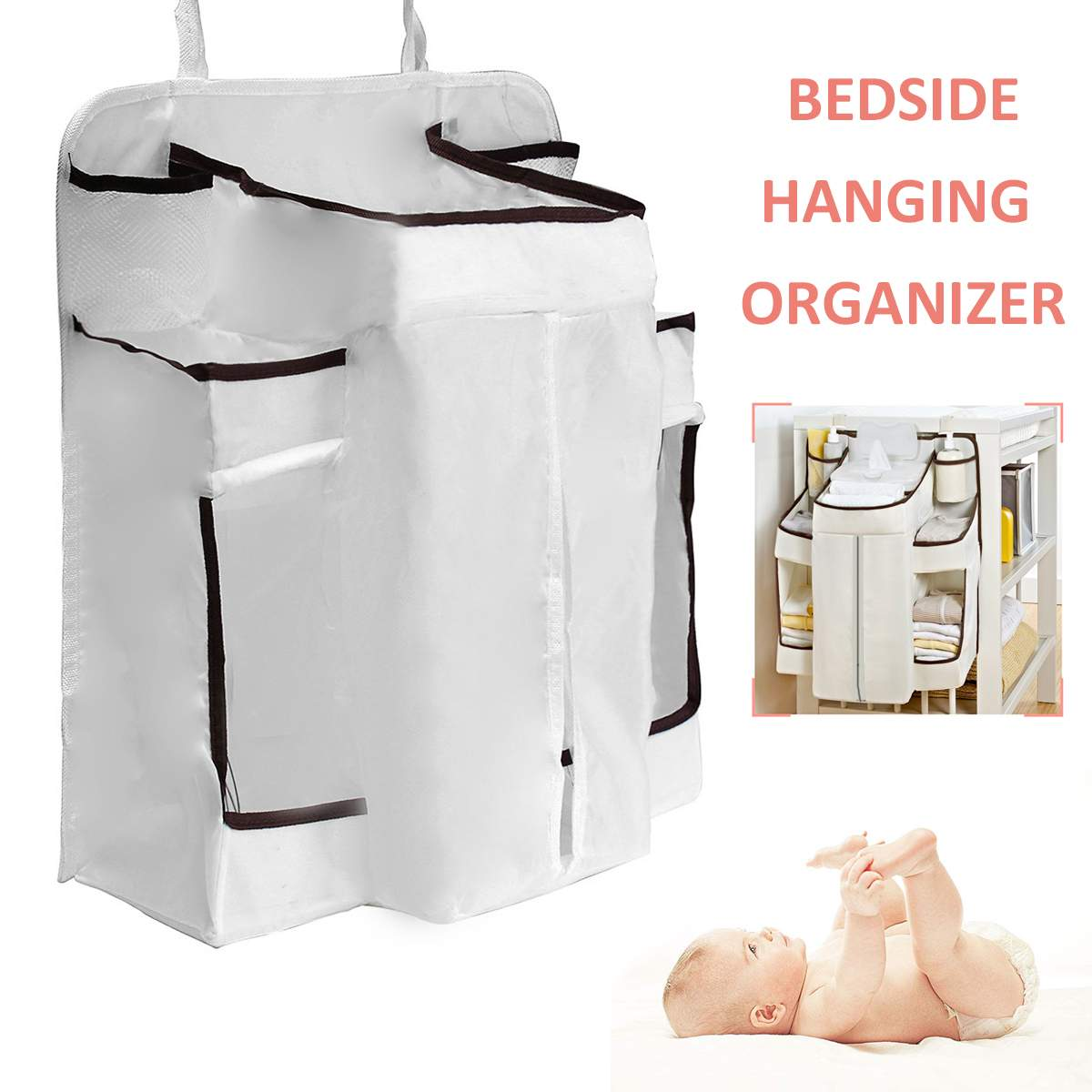 Multifunctional Baby Nappy Change Organizer Crib Bedside Hanging Bag Stroller Bed Storage Clothes Storage Dispenser Pouch garment bag