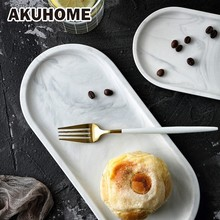 Nordic Style Marble Pattern Ceramic Tableware Household Ceramic Plate Tray For Food Dinner Plates White AKUHOME cute bear head style baby dinner plate tray pink