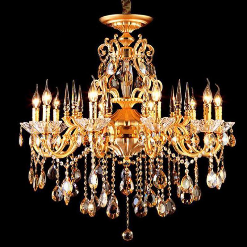 Antique Gold crystal lamp led chandelier for living room hotel Restaurant lustre cristal E14 10/15 pcs led candle home lighting chandelier crystal lamp crystal lamp led chandelier - title=
