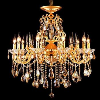 Antique or cristal lampe led lustre pour salon hôtel Restaurant lustre cristal E14 10/15 pcs led bougie éclairage à la maison