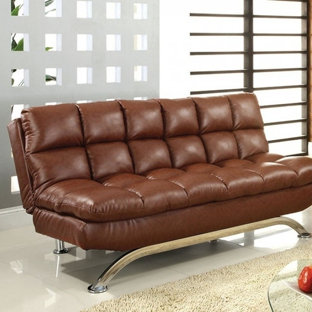 Leatherette Upholstered Contemporary Sofa With Metal