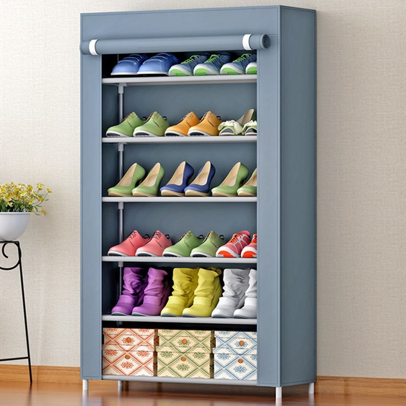 Assembly Metal Shoe Shelves Storage Cabinet Modern Non woven Closet Home Hallway Furniture Dust proof Organizer Shoes Cupboard