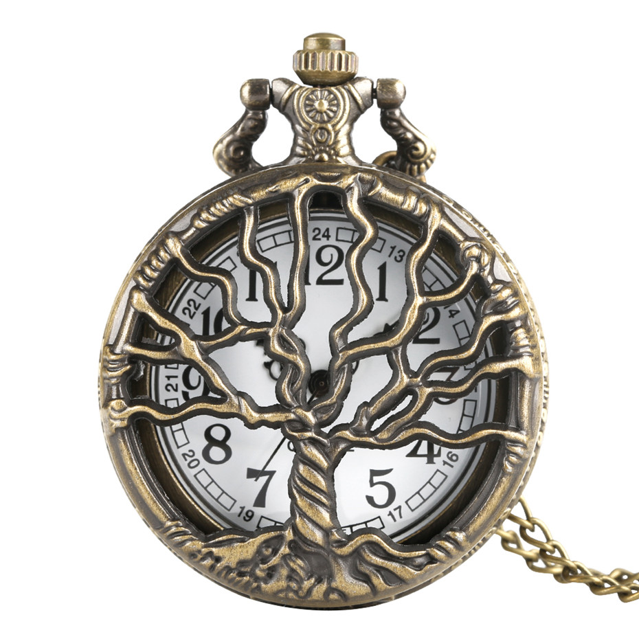 Hollow Tree Design Cover Pocket Watch Men Necklace Bronze Color Women Fob Watches Artistic Fashion Unisex Clock Gift For Xmas