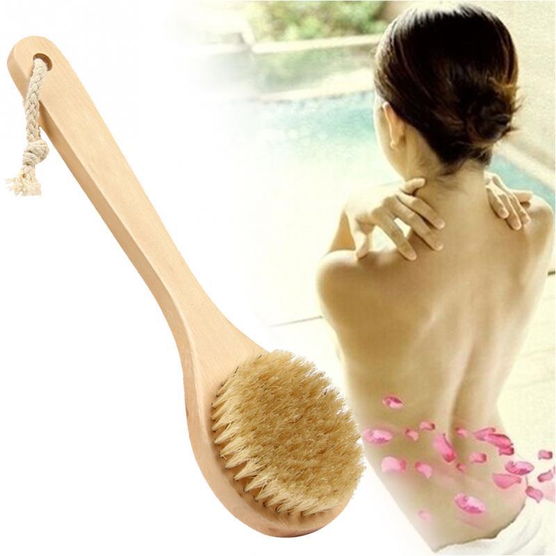 Natural Bristle Middle Long Handle Wooden Scrub Skin Massage Shower Body Bath Brush Round Head Bath Brushes Bathroom Accessories
