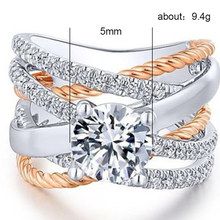 Silver 925 jewels rose gold rings Gold ring stainless steel Creative geometric lines rose gold-plated two-tone ringenH001 romantic plated rose gold rhinestone coralline ring
