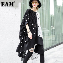 [EAM] 2019 New Spring Summer Round Neck Half Sleeve Hit Color Dot Printed Irregular Back Long Big Size Dress Women Fashion JS126(China)