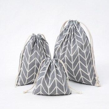 1 Uds geométrico gris algodón lino con cordón bolsa de almacenamiento regalo organizador de joyas, de té, de caramelos de cosméticos de maquillaje de llaves y monedas bolsas 49306