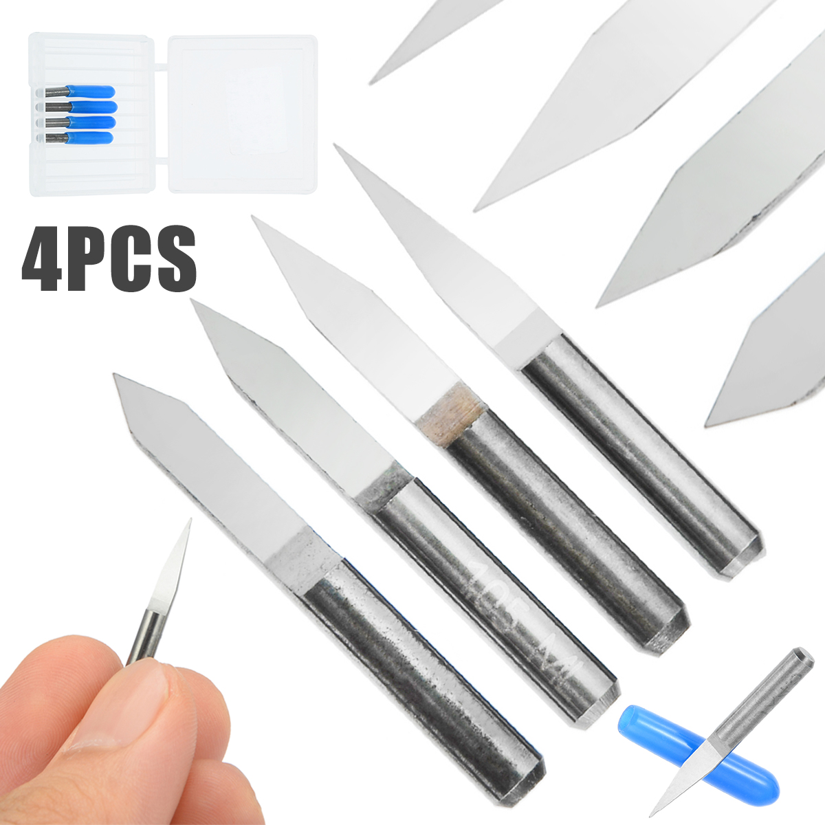 4PCS Carbide Engraving Bits Set PCB Board 3.175mm 20 30 40 60 Degree Engraving Cutters CNC Router Tool For Plastics Wood