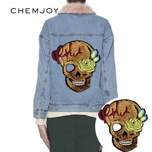 Skull Large Patch Applique Sewing on Sequin Patches for Clothes Sweater Jeans Bag DIY Craft Clothing Stickers Sequined Parches