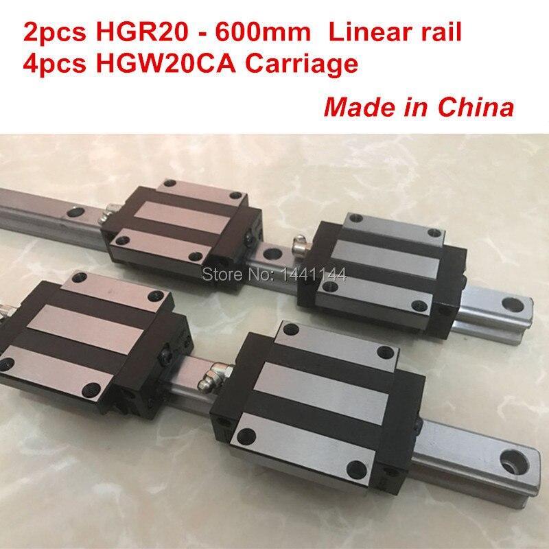 HGR20 linear guide: 2pcs HGR20 - 600mm + 4pcs HGW20CA linear block carriage CNC parts hg linear guide 2pcs hgr20 850mm 4pcs hgw20ca linear block carriage cnc parts