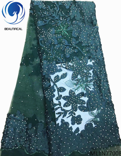BEAUTIFICAL cheap lace fabric high quality french lace african lace fabrics 5 yards rhinestones fabric design on sale ML1N770