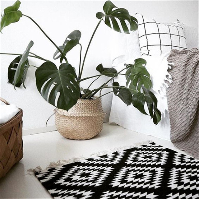 Natural Seagrass Woven Basket Household Storage Foldable 2