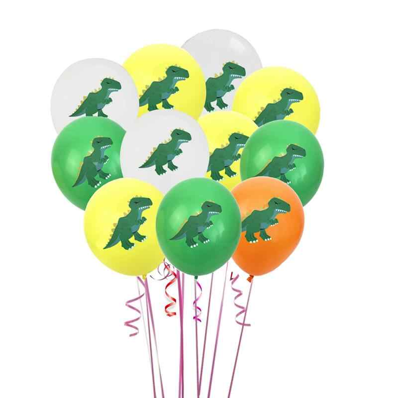 12 pcs 12inch Balloons Colorful Printed Lovely Dinosaur Pattern Latex Balloon Photo Props for Birthday Baby Shower Party Wedding