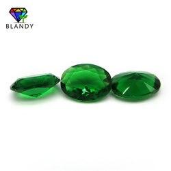 15*30 مللي متر البيضاوي شكل آلة قطع الاصطناعية الأخضر الزجاج حجر الخرز للمجوهرات