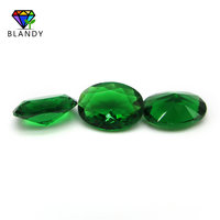 15*30mm Oval Shape Machine Cut Synthetic Green Glass Stone Beads for Jewelry