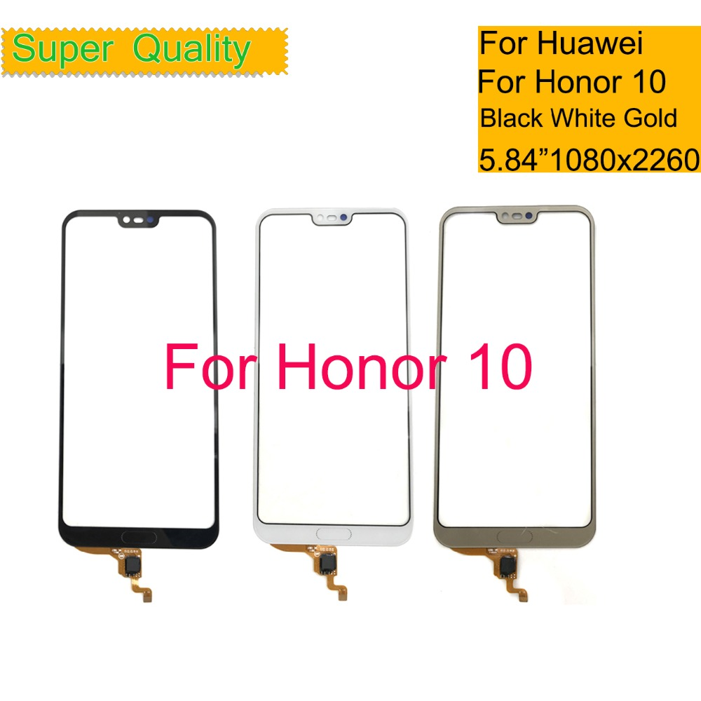 10Pcs/lot For Huawei Honor 10 Touch Screen Touch Panel Sensor Digitizer For Honor 10 Front Glass Outer No LCD