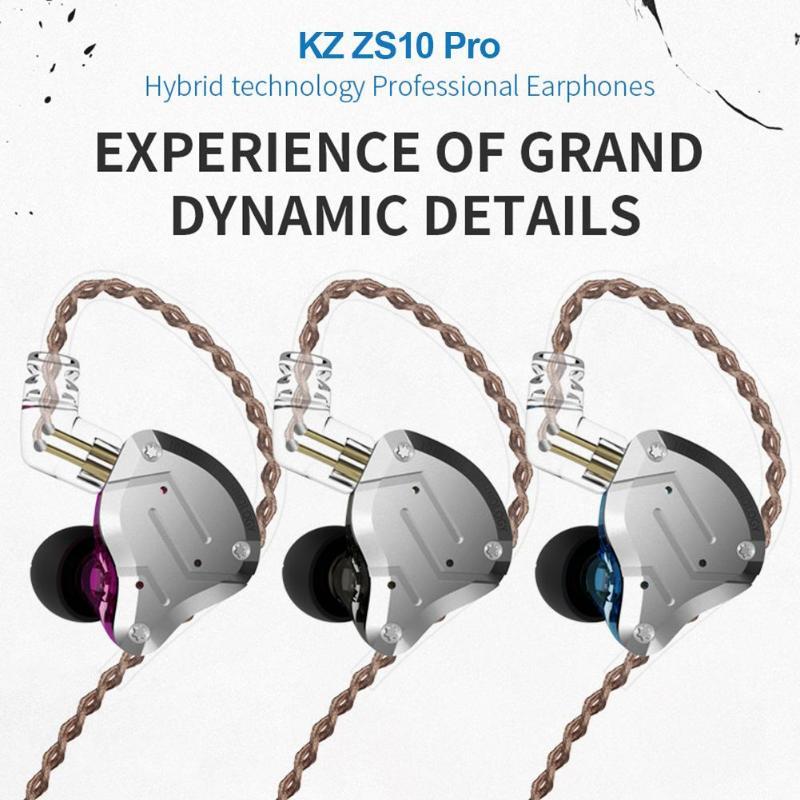 KZ ZS10 Pro 4BA 1DD Hybrid Metal Headset HIFI Bass Music Earphone 3 5mm Wired Sport
