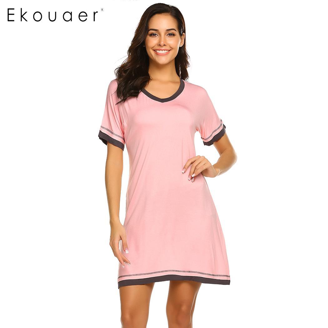 Ekouaer Women Chemise   Sleepshirts     Nightgown   Sleep Dress Short Sleeve Loose Nightdress Home Nightwear Ladies Cozy Cotton Dress