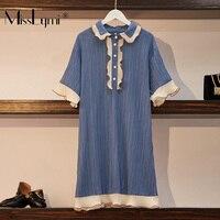 L 4XL Plus Size Women Blue Dress Summer 2019 Cute Peter Pan Collar Short Sleeve Patchwork Ruffle Loose Casual Short Dresses