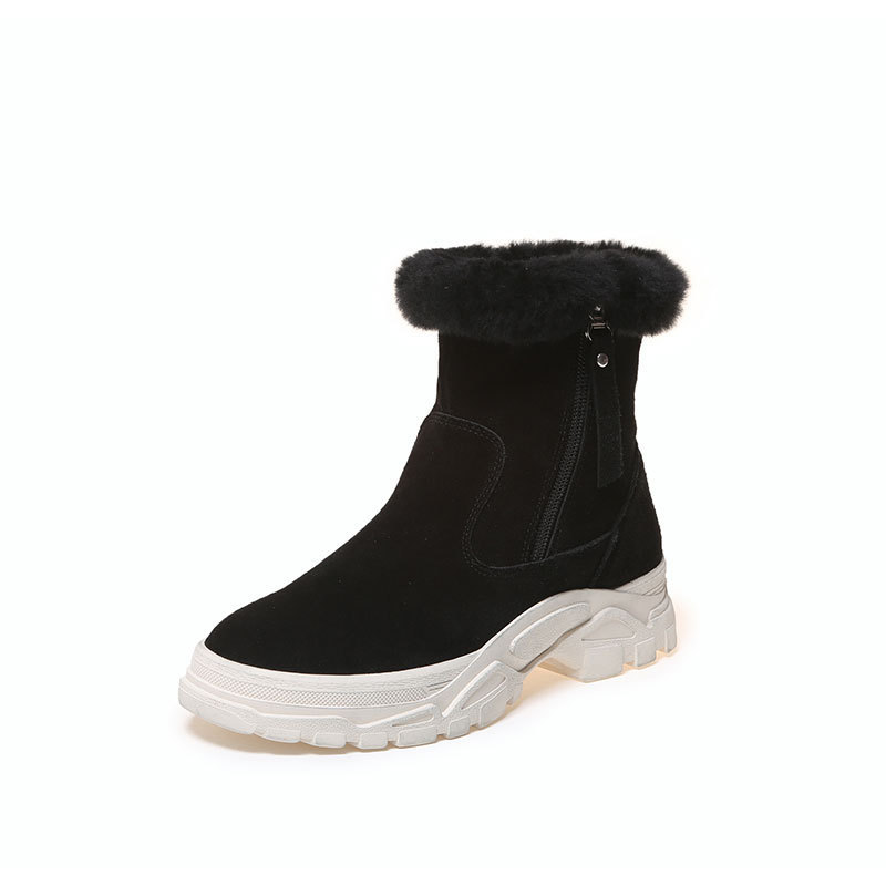 Coreana Beige Más Planas Acolchado 2019 black Nieve Zapatos Terciopelo De La Mujer Cuero Nueva Para Botas Gruesa Versión Invierno Caliente Uqw5g