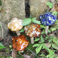 New 4pcs/set 4X12cm Ceramic Toadstools Mushroom Fairy Ornament Yard Garden Plant Pots Decor