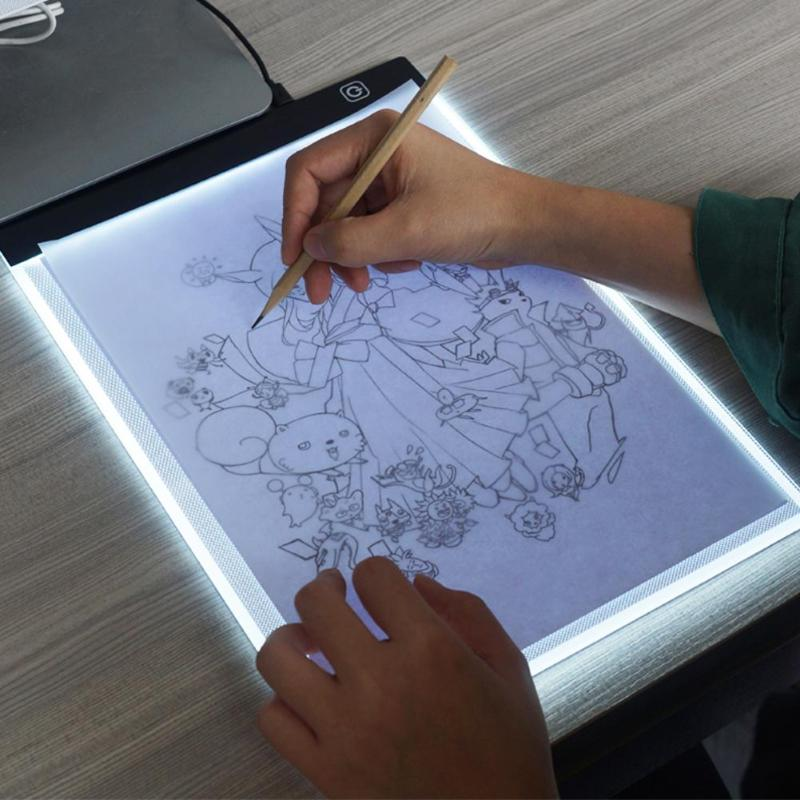 <font><b>Dimmable</b></font> <font><b>A4</b></font> <font><b>LED</b></font> Drawing Tablet Digital Graphic Tablets Electronic Writing Painting <font><b>Light</b></font> Box Kids Tracing Copy Board <font><b>Pad</b></font> Table image