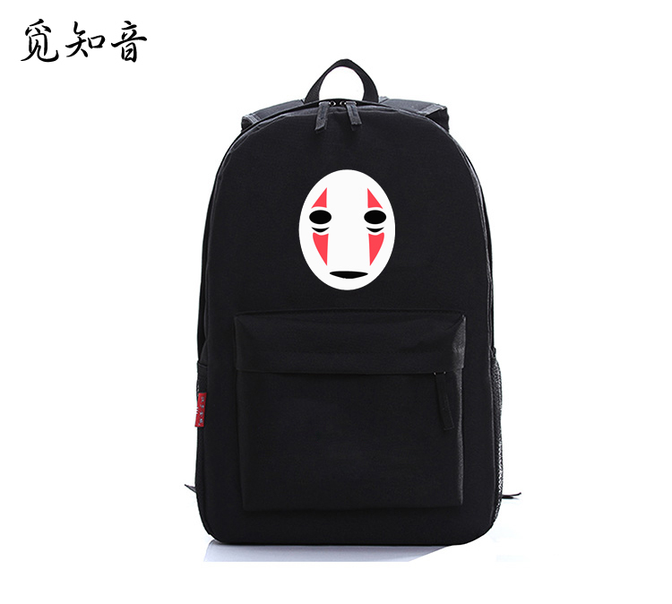 2019 New Japanese Anime <font><b>Spirited</b></font> <font><b>Away</b></font> Black No Face Mask Oxford Printing <font><b>Backpack</b></font> Laptop Bags School Bags For Teenagers image