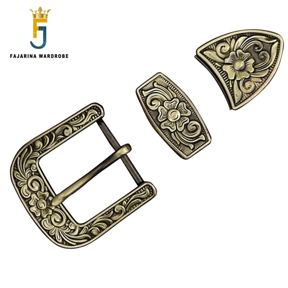 FAJARINA Pure Copper Waist Pin Belt Buckle Three Piece Chinese Wind Floral Pattern Needle Styles Button Ring Set Fittings BCK047