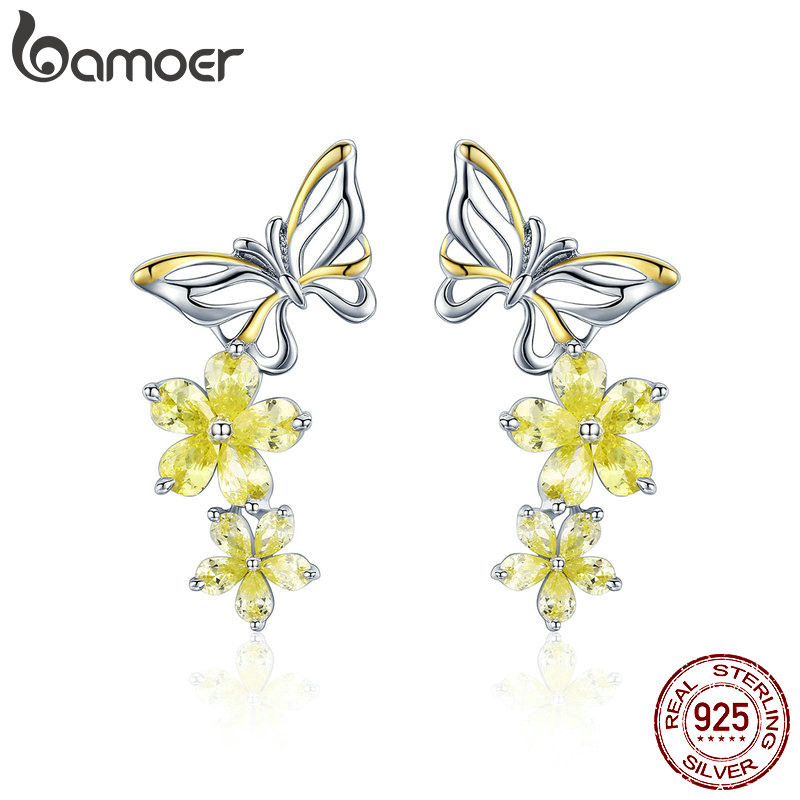 BAMOER Authentic 925 Sterling Silver Dancing Butterfly & Yellow Crystal Zircon Women Drop Earrings Wedding Jewelry BSE064BAMOER Authentic 925 Sterling Silver Dancing Butterfly & Yellow Crystal Zircon Women Drop Earrings Wedding Jewelry BSE064