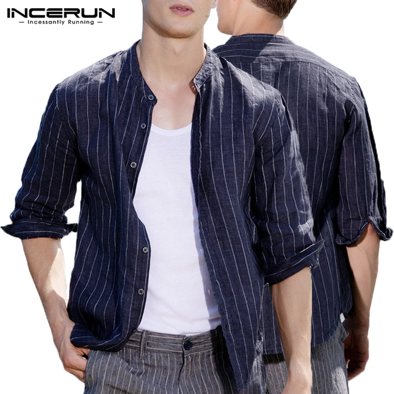 Fashion Casual Shirt Men Tops Striped Men Shirt Dress Three Quarter Sleeve Autumn Spring Clothes Loose Cotton 5XL Hombre Camisa