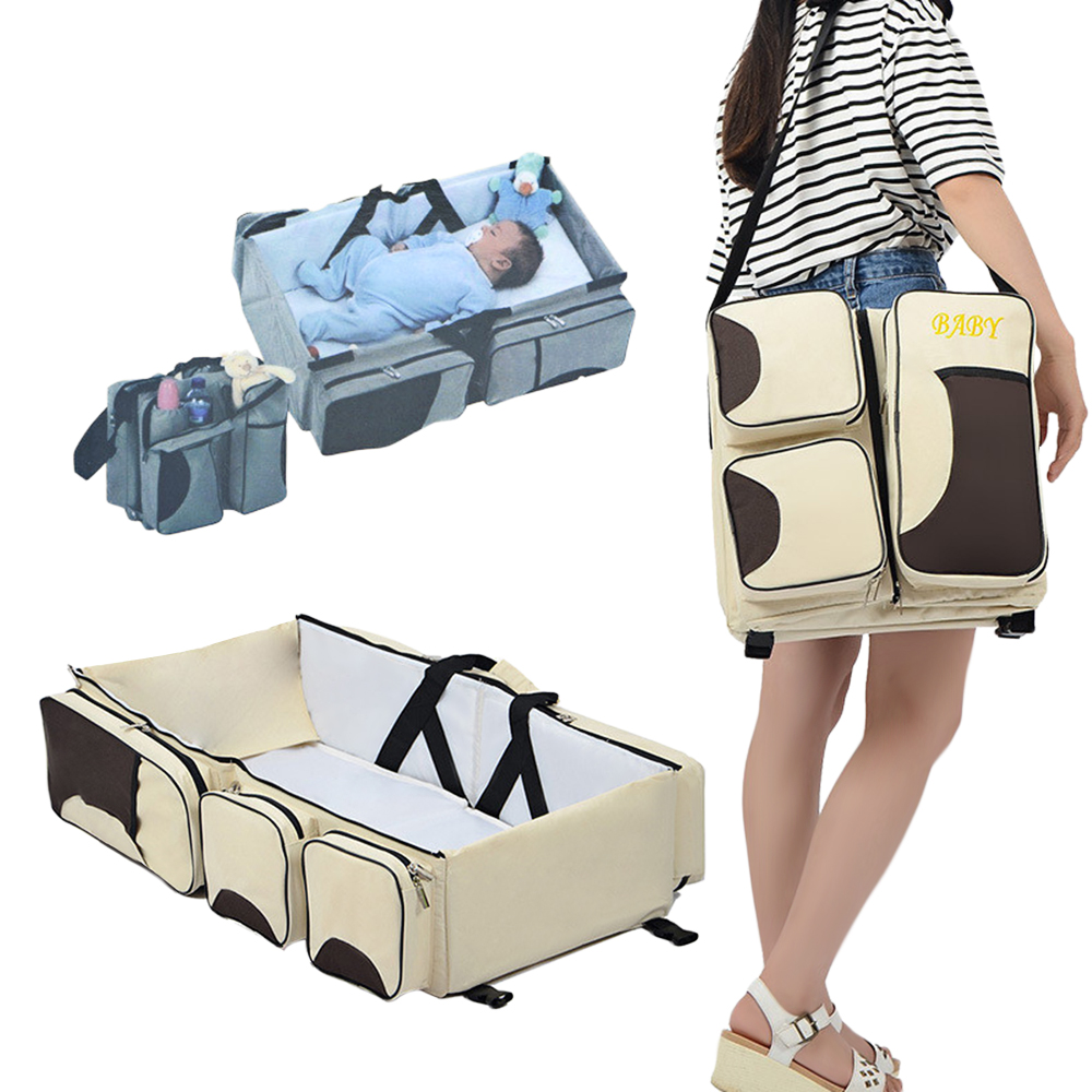 все цены на Multifunctional Portable Baby Diaper Bag Bed Mommy Bag Durable And Water-Resistant Oxford Cloth For Travel