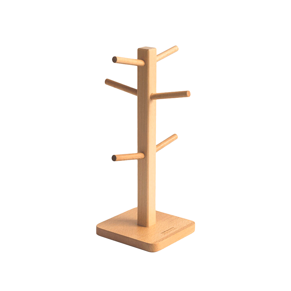 1 Pc Solid Mug Rack Tree Kitchen Storage Rack Removable Bamboo Coffee Cup Hanger Tea Cup Organizer Mug Stand with 6 Hooks