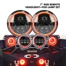 free bluetooth remote 7inch 60W RGB LED headlight H4 H13+ 4inch led fog light for offroad Wrangler Rubicon JK 4x4 truck auto