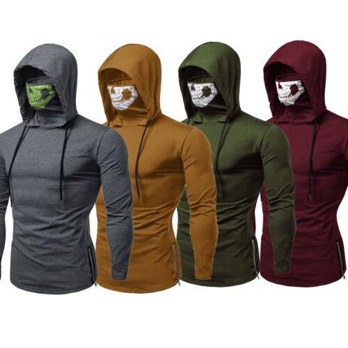 Mens Casual Long Sleeve Masked Hoodies Sweatshirt Jacket Pullover Jumper Tops 2019