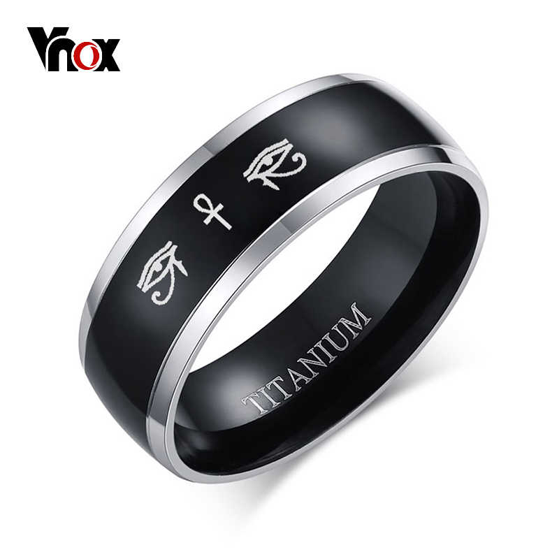 Vnox Anka Cross Horus Eyes Black Ring for Men Titanium Casual Male Accessories Faith Amulet Jewelry