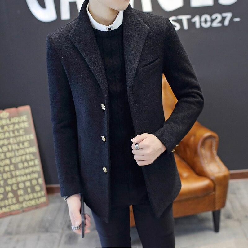 Новое шерстяное пальто Мужская Короткая секция тонкая осенняя и зимняя модели Толстая ветровка Корейская Молодежная красивая куртка тренд