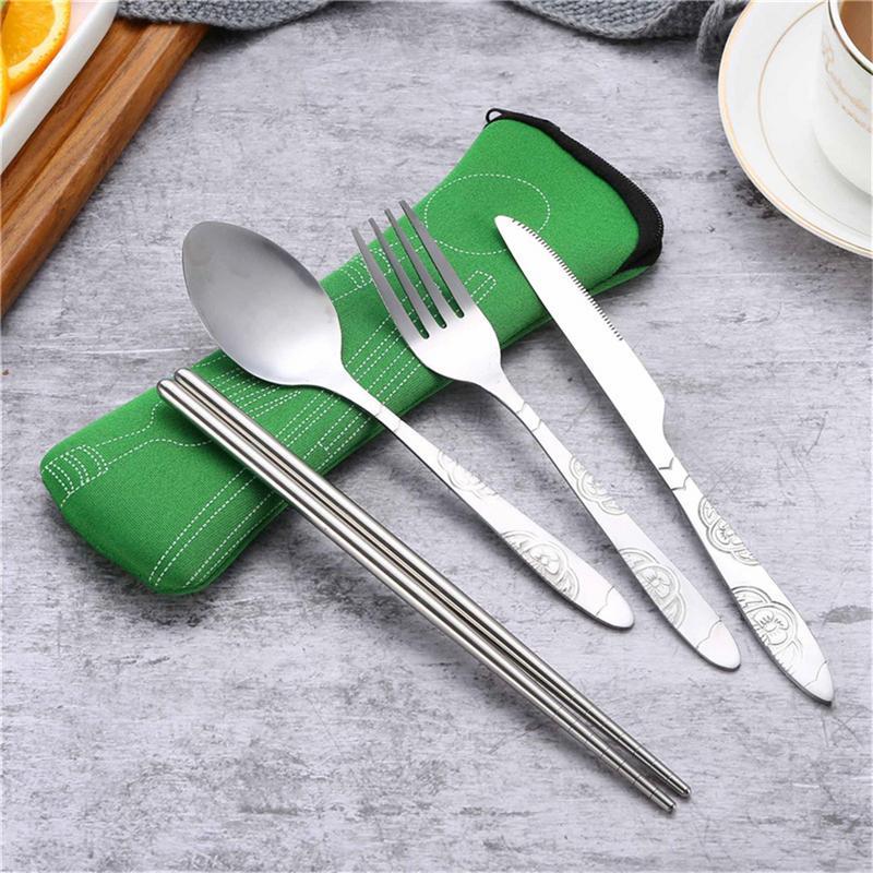 F-blue Foldable 304 Stainless Steel Forks Spoons tableware set portable Kit Portable Outdoor Multifunctional Tableware Set