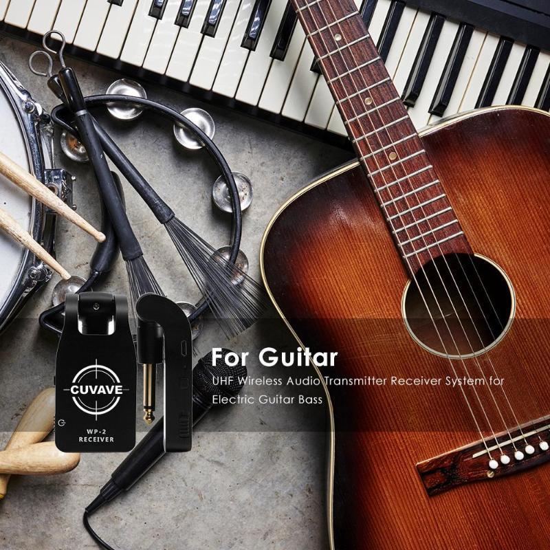 Système récepteur émetteur Audio sans fil UHF USB Rechargeable pour guitare électrique basse