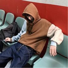 Mens Sweatshirt 2019 Spring New Hooded Turtleneck Ribbon Splicing Solid Color Teen Casual Wear