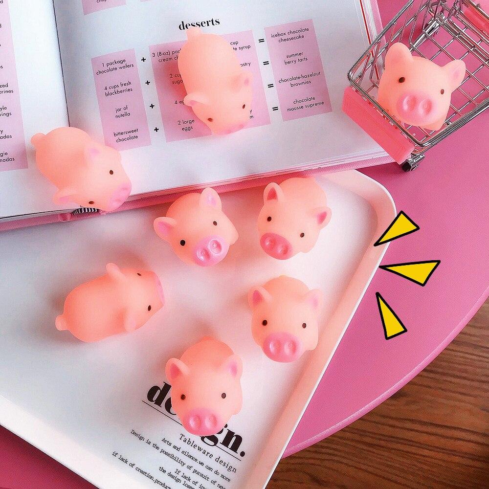 1Pc Mini Cartoon Squishy Pink Pig Mochi TPR Squeeze Straps DIY Decor Accessories Fun Joke Toy Kids Gift Anti-stress Toys
