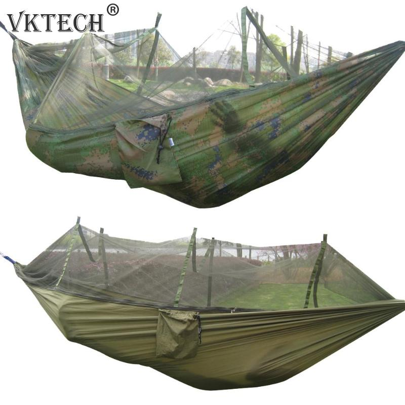 Portable Mosquito Net Camping Hammock Outdoor Garden Travel Swing Parachute Fabric Hang Bed Hammock 260*130cm Drop Shipping